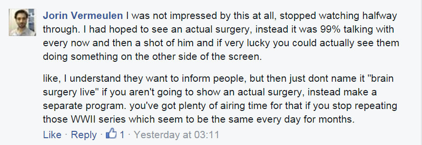 Fb comment issues with the edit and production of the show ii