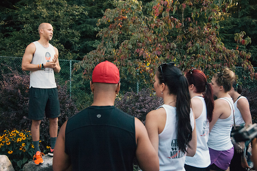 Raising awareness: Sam speaking before his final climb at the Grouse Grind in Vancouver