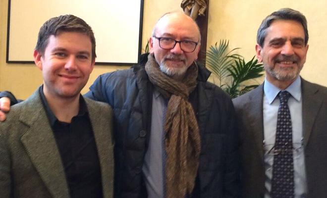 (left to right) Dominic Graham, head of editorial and brand communications, EPDA; Antonino Marra, president, Parkinson Italia; Gianguido Saveri, activities coordinator, Parkinson Italia