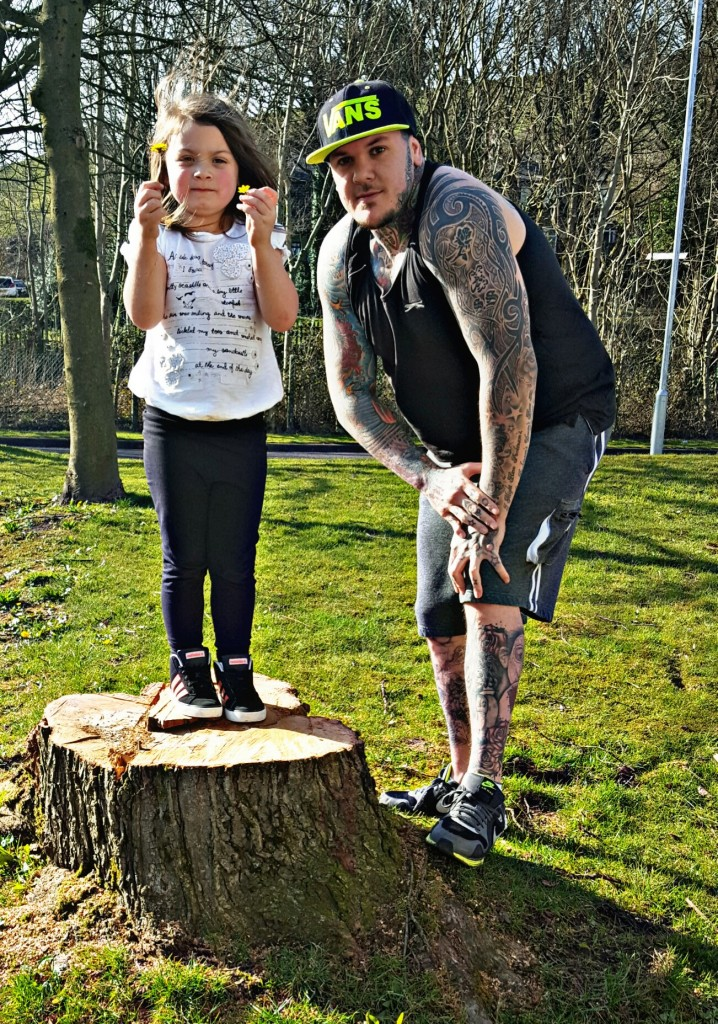 Shaun Slicker and daughter in the park