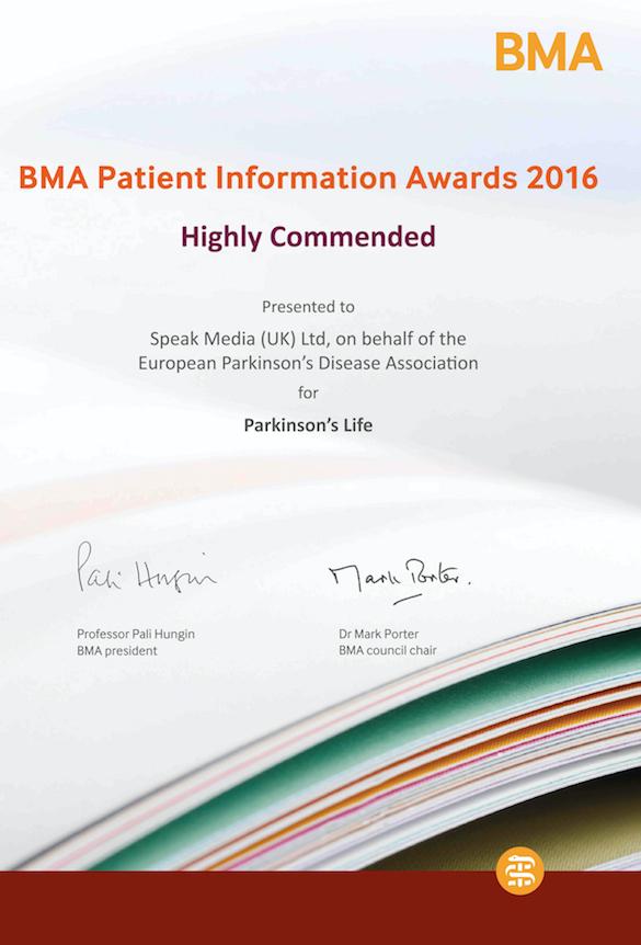 Parkinson's Life BMA certificate