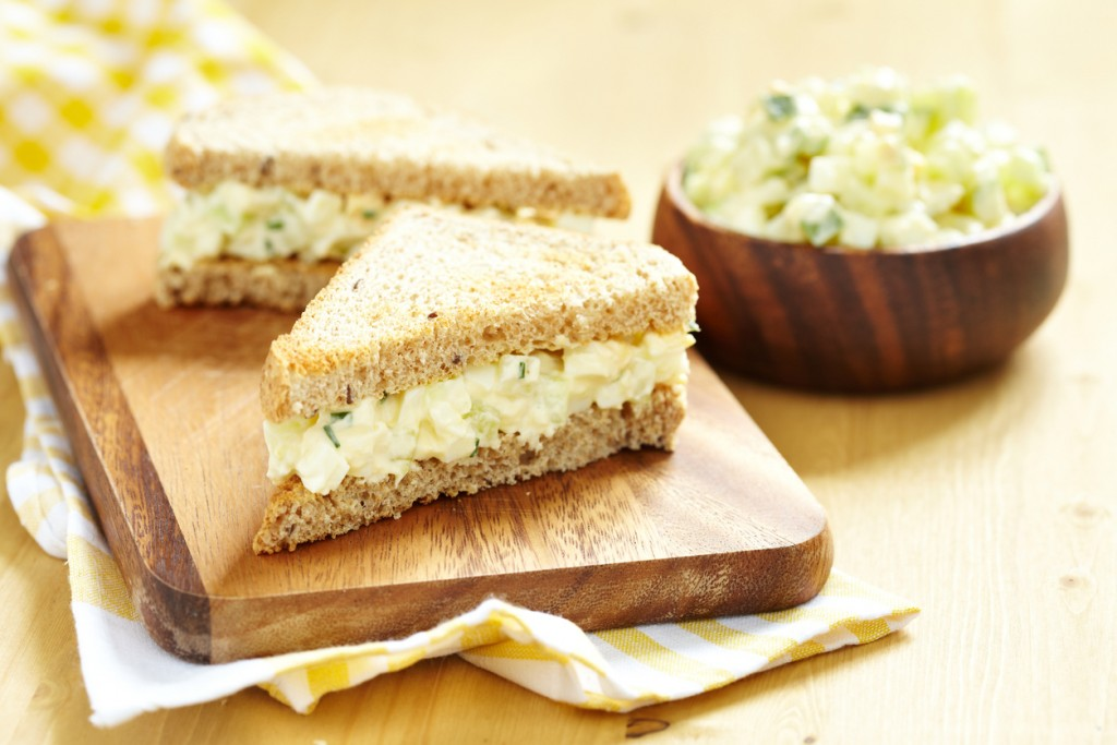Freshly prepared egg salad sandwich