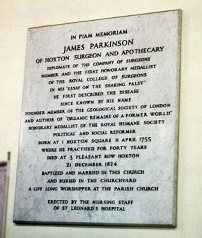 James Parkinson memorial plaque