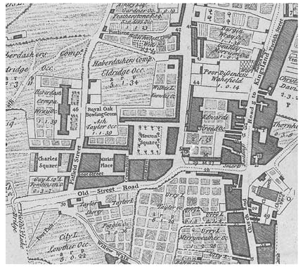 Map of Old Street and Hoxton Square area
