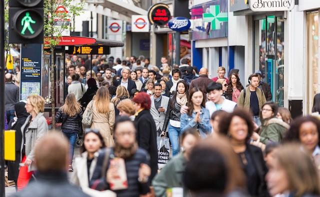 Crowded sidewalk on Oxford Street in London