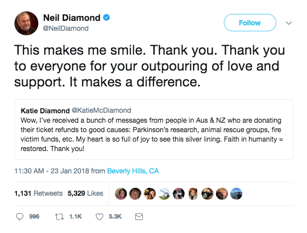 Neil Diamond and Katie Diamond tweet