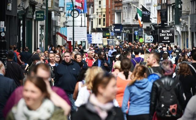Busy Shopping Street - Grafton Street in Dublin