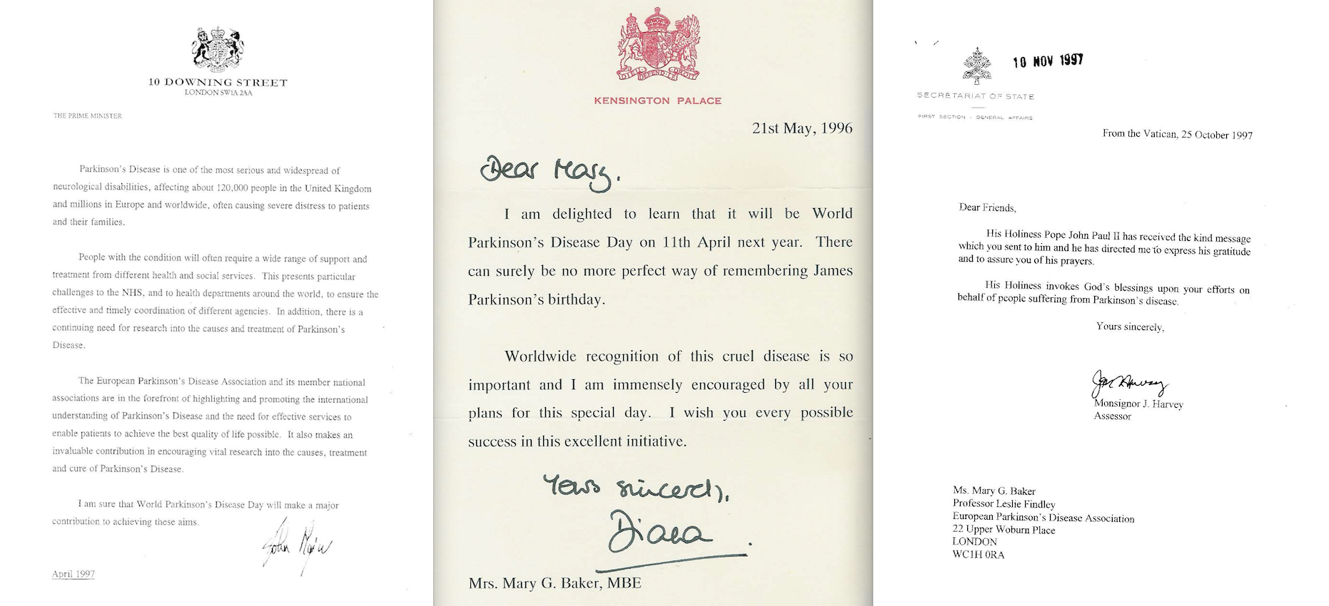 John Major, Princess Diana and Poppe John Paul II letters