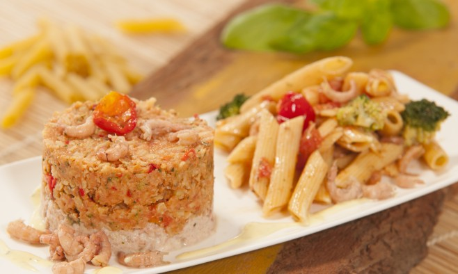 Timbale of pasta and shrimp lead