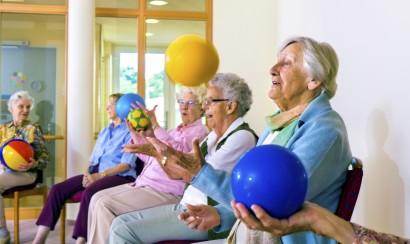 Senior ladies doing coordination exercises.
