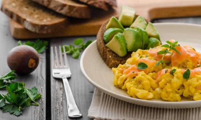 Salmon scrambled eggs and avocado toast