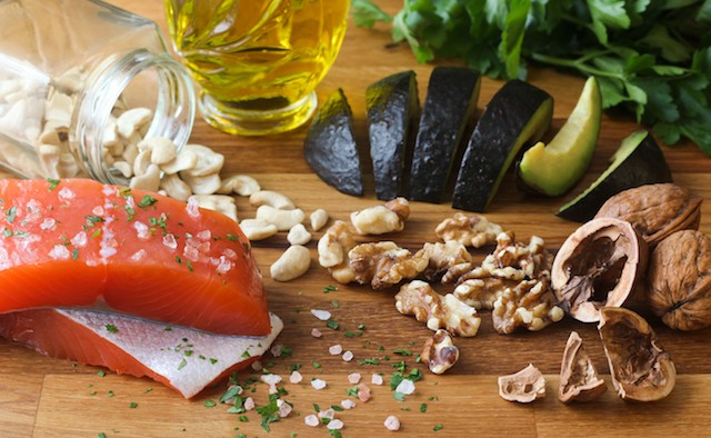 Omega-3 Foods on Wood Background