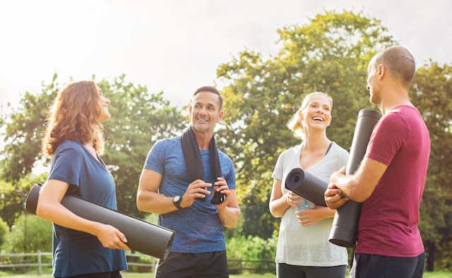 People chatting after exercise