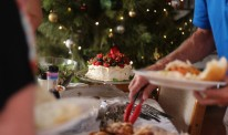 Christmas lunch buffet table and a pavlova