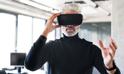 Man with virtual reality glasses
