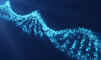 Rotating DNA, Genetic engineering scientific concept, blue tint, 3d rendering