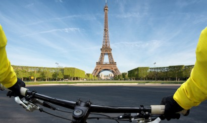 Point of view handle of bicycle in Paris, France