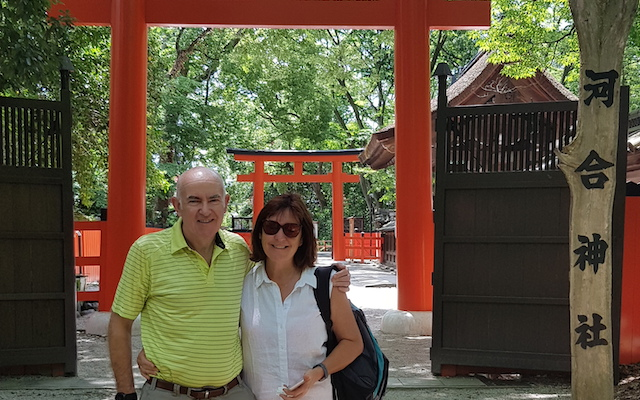 Joe Lacy (left) with his with Pauline (right) in Kyoto, Japan.