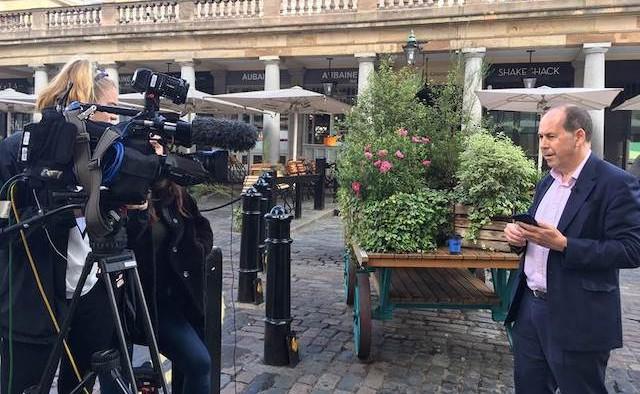 Journalist delivering news broadcast