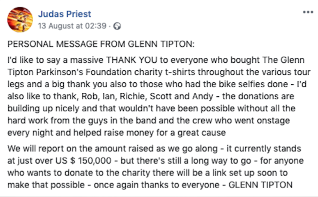 Glenn Tipton statement