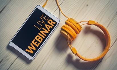 Live webinar on phone with headphones