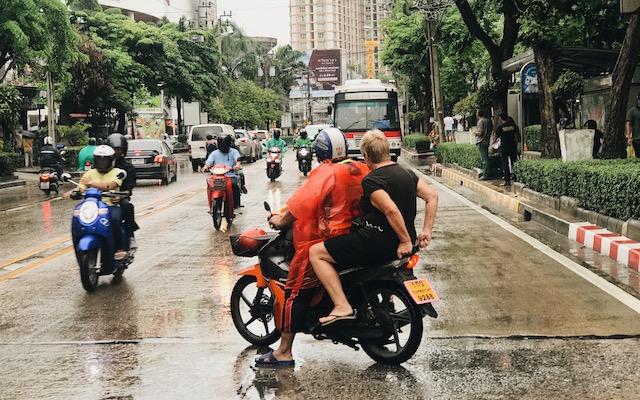 Maura Ward on a motorcycle