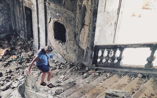 Maura Ward exploring ruins