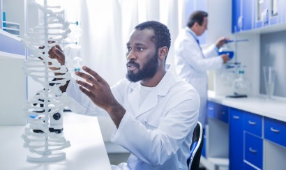 Geneticist at work in a lab