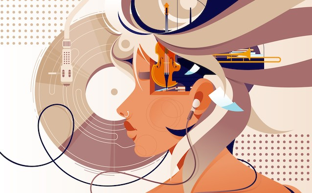 illustration of a woman listening to music through headphones.