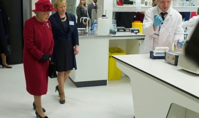 Queen Elizabeth II visiting a research centre