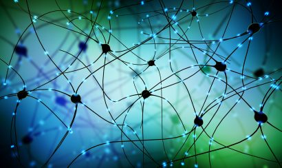 illustration of transmitting synapse, neuron or nerve cell