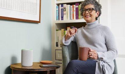 Woman using Amazon's Alexa