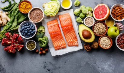 A display of antioxidant-rich foods