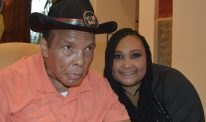 Maryum and Muhammad Ali on his 74th birthday.