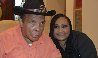 Maryum and Muhammad Ali on his 74th birthday.