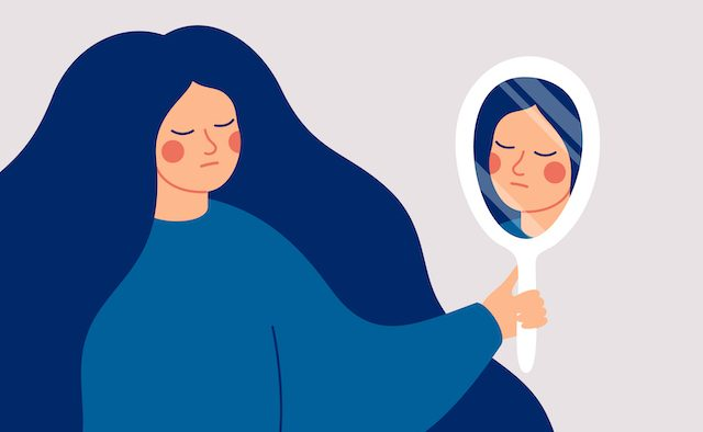 An illustration of a woman looking in a mirror.