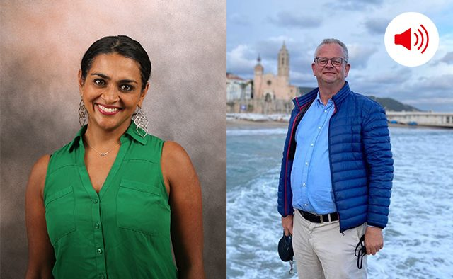 Indu Subramanian and Wytze Russchen pose for photos in a composite image.